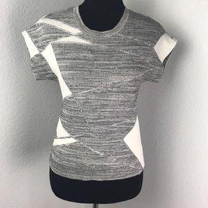 Calvin Klein Grey White Modern Geometric Print Top
